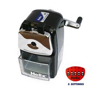Helix-Desktop-Black-Rotary-Pencil-Sharpener-Metal-Heavy-Duty-Body-amp-Desk-Clamp