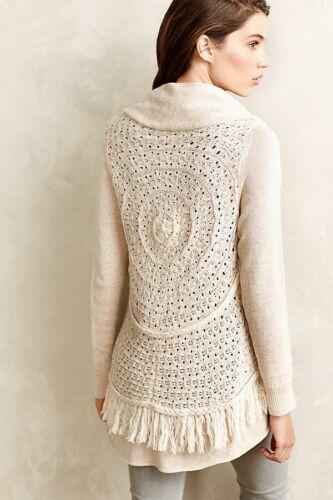 Knotted Anthropologie Neutral di Knitted con Nwt bordi da Cardigan sfrangiati Xs 8P1BSnxXw