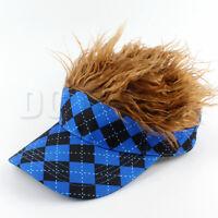 Flair Hair Visor Hat Golf Blue Brown Wig Cap Free Shipping Spike Goof Spiky