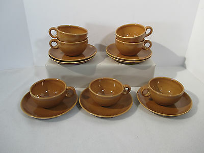 Russel Wright Cups Saucers Ripe Apricot Iroquois Mid Century Design 7 Set 14pcs