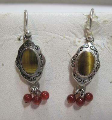 Puffy Round Tigers Eye Sterling Silver Dangling Earrings