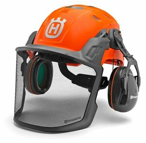 HUSQVARNA-CHAINSAW-Forest-Helmet-Technical-Ear-Defenders-amp-Visor-Adjustable