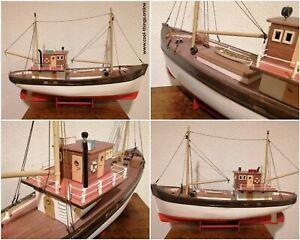 Motor-Ship-Fishing-Boat-Wood-Scale-Model-Handmade-Unique-Fish-Trawler-Kotter