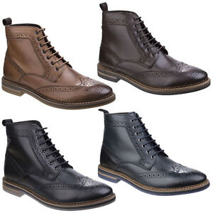 1b0dd620cf3 Details about Base London Hurst Mens Leather Lace Up Burnished Waxy Brogue  Boot
