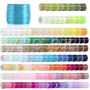 "50 Yards Satin Ribbon Craft Wedding Gift Party Sewing Decor 1/8""  3mm"