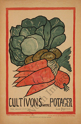 Cultivons Notre Potager vintage french food poster repr