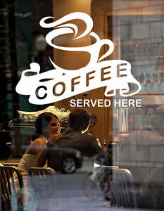 Coffee Shop Cafe Window Sticker Sign Decal Graphic Frosted