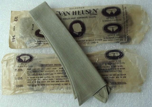 Van Heusen collar UNUSED vintage 1920s GREEN olive drab 14.5 semi-stiff 99