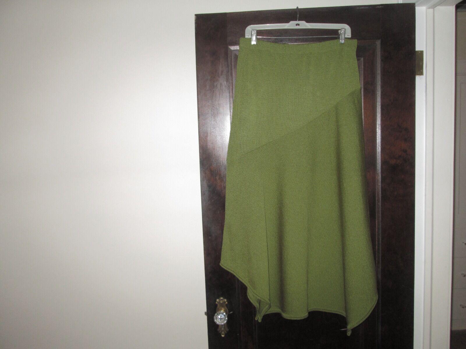 PASHOOT Leaf Green Knit Asymmetric Lagenlook Pull-On Skirt 1X