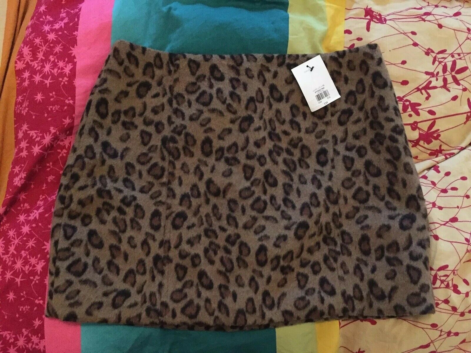 BNWT Topshop Leopard Brushed Wool Skirt - size 16