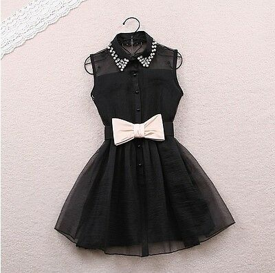 White Fashion Sexy Womens Mini Party Evening Bow Dress Cocktail Casual Black