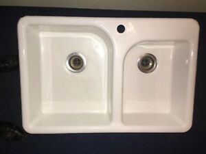 John Lewis of Hungerford Enamelled Cast Iron Kitchen double Sink ...