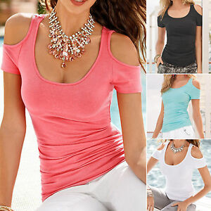 Plus-Size-Womens-Short-Sleeve-T-Shirts-Blouse-Summer-Cold-Shoulder-Top-Tee-Shirt