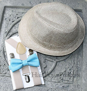 Kids Boy's Fedora tan Hat,Suspenders,photo prop,turquoise bow Tie 2T,3T,4T,5T