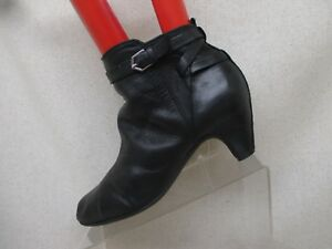 d66b25214db2 Sam Edelman Black Leather Heeled Zip Buckle Ankle Boots Booties Size ...