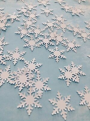 white Snowflakes confetti 100 counts hand punched from cardstock paper