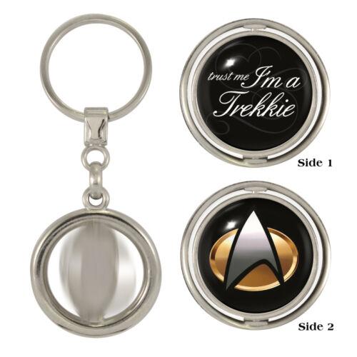 Trust Me I/'m A Trekkie /& Star Fleet Logo Spinning Keyring sci-fi enterprise NEW