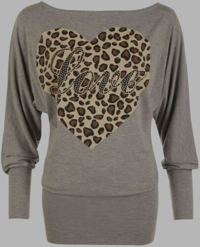 New Womens Love Print Batwing Ladies Leopard Heart Animal Long Sleeve Party Top