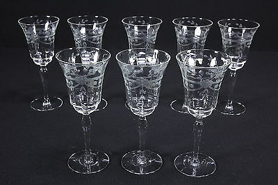 Eight (8) Water Goblets Paneled Optic Cut Floral Designs Elegant Stems 10 Ounce
