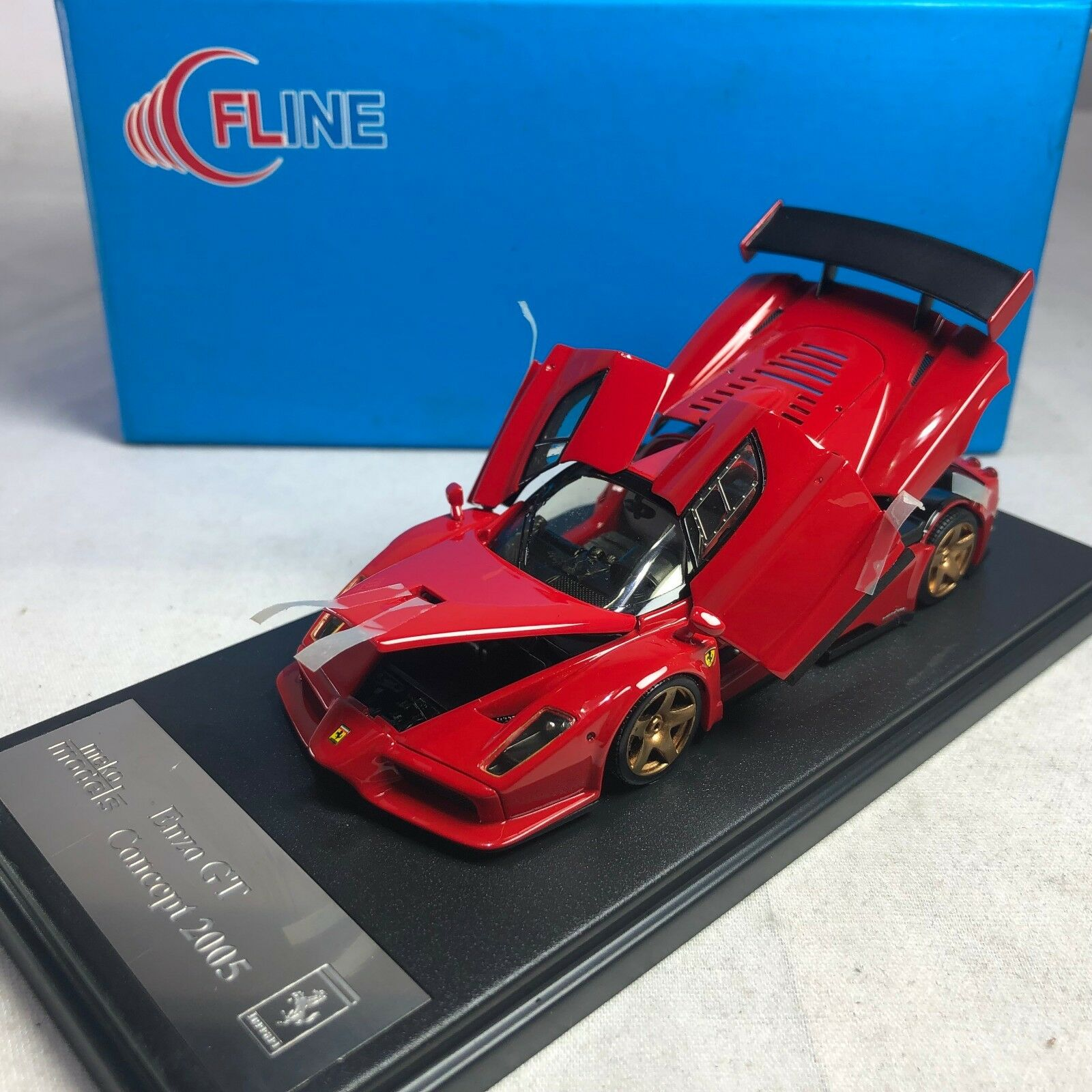 1 43 Scale Meko Fline Ferrari Enzo GT Concept Red wth gold Wheels Open & Close
