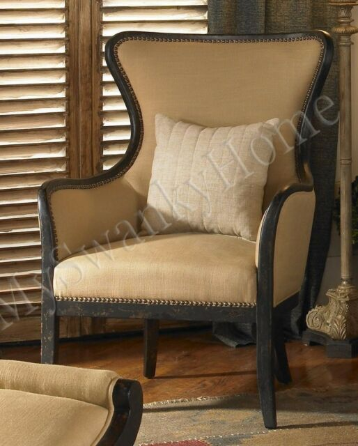 Elegant Black Beige ARM CHAIR Contemporary Classic Linen Wood Mahogany Luxe