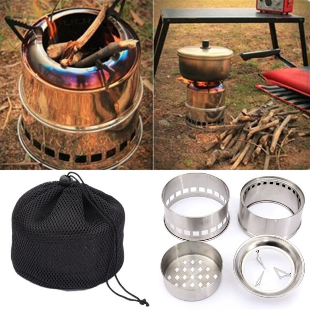 Portable Wood Gas Backpacking Emergency Survival Burning Camping Stove + Bag