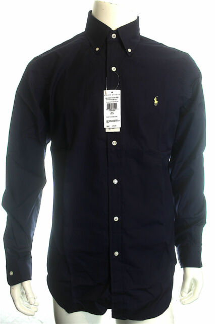 d33b35ad422 BNWT RALPH LAUREN MEN S LUXURY NAVY SHIRT CUSTOM FIT COTTON LONG SLEEVE  SIZE M