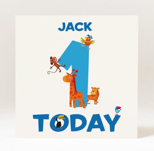 Hecho a mano personalizado chico de la edad de tarjeta de cumpleaños con animales de la selva de edad 1 2 3 4 5