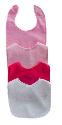 White 4 Plain Baby Feeding Bibs Cotton Terry Towelling Boys or Girls Pink Blue