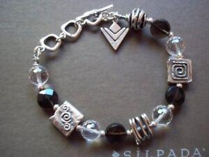 Silpada-Smoky-Quartz-Crystal-amp-Sterling-Silver-Bracelet-B1275-Gorgeous