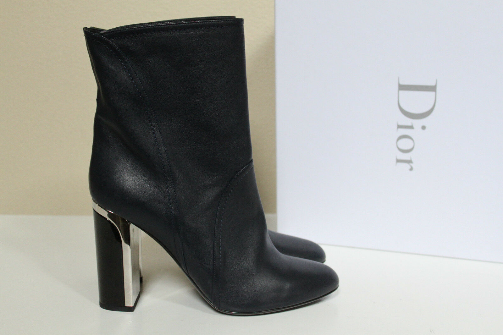 New sz 7 / 37.5 Christian Dior Marine Navy Blue Leather Ankle Boot Bootie Shoes