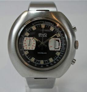 Armbanduhr-BWC-Yachting-Chronograph-Edelstahl-Handaufzug-vintage-44-mm-1970