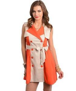 Retro orange and khaki color block mini-dress by Very J.
