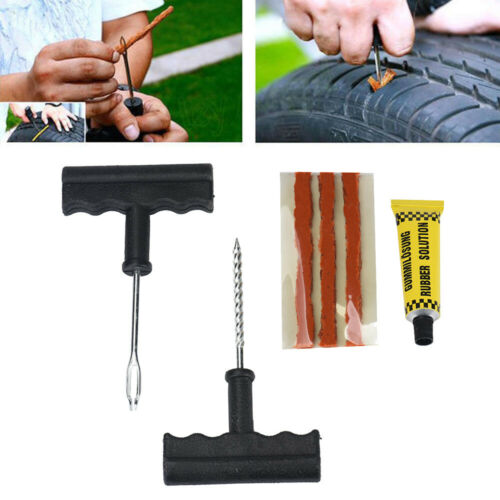 Tubeless Emergency Tyre Puncture Repair Plug Kit Needle Patch Fix Tools Car UK