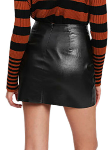 Sexy avec mini poche Jupe en Black similicuir de zippée jupe Party qgw8Htw