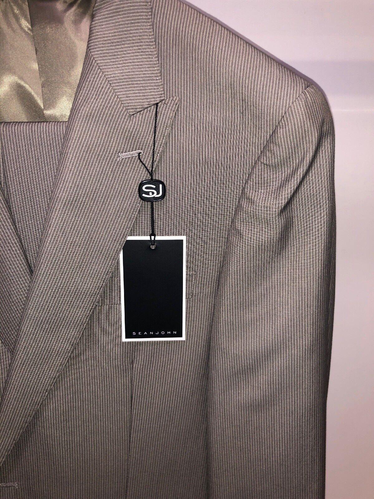 BNWT Sean John 44L Tan Beige Mode Pinstriped Premium Exotic Harvey Suit WOW