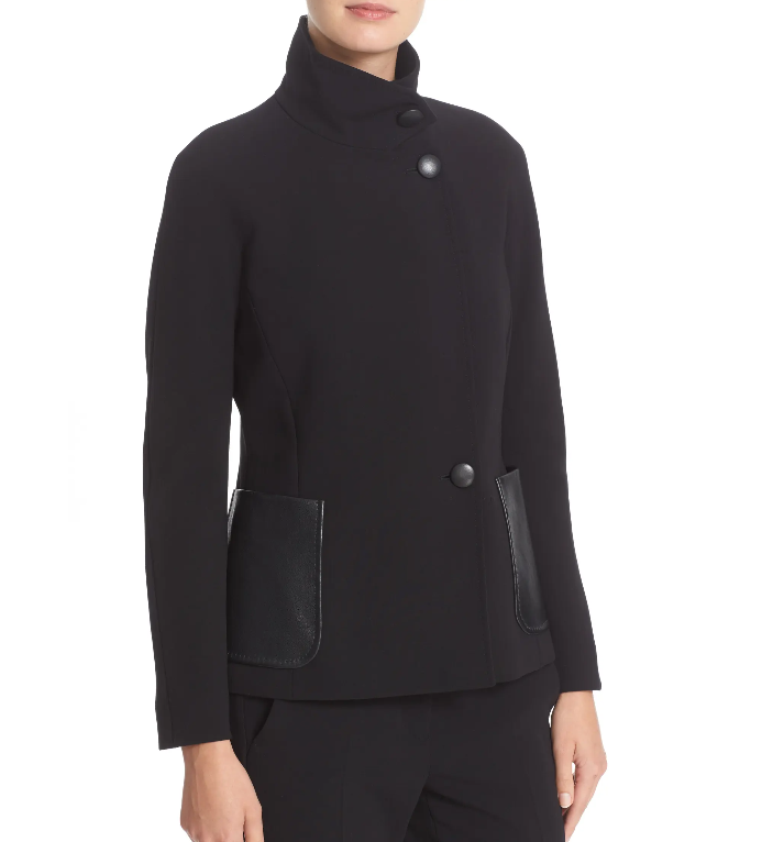 MAX MARA, Wool Blazer with Leather Pockets, Size 6 US, 8 GB, 36 DE, 40 IT