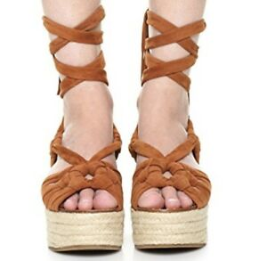 72fd2482c60 Details about Sigerson Morrison Cosie Knotted Fringed Tan Suede Platform  Lace Uo Sandal NEW