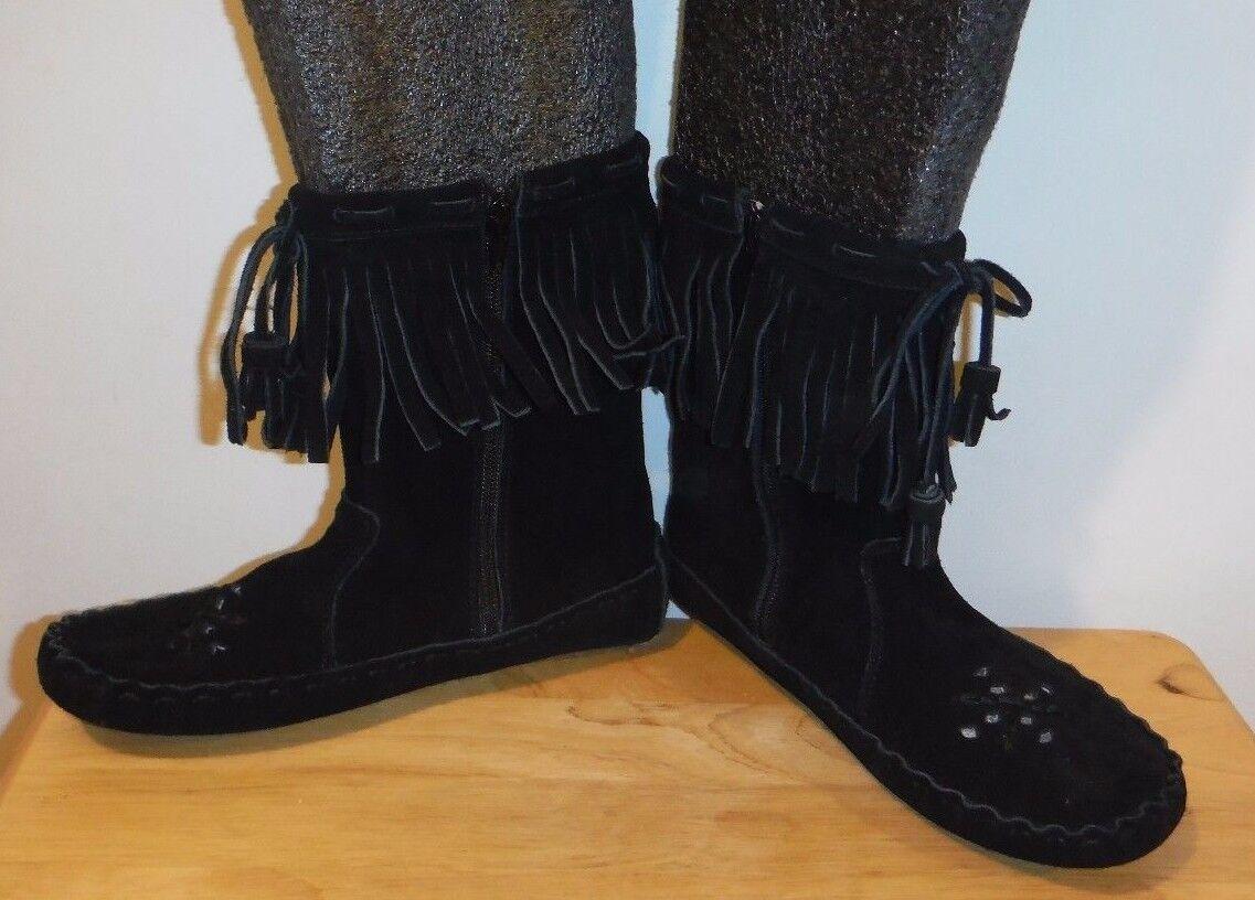 Womens Womens Womens Peace Moccasin Tina Black Suede Hard sole Side Zipper Boots New 7 M 2848a9