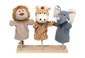 3-Handpuppen-Wilde-Tiere-Pluesch-Kasperle-Theater-ca-27-5cm-Elefant-Loewe-Giraffe