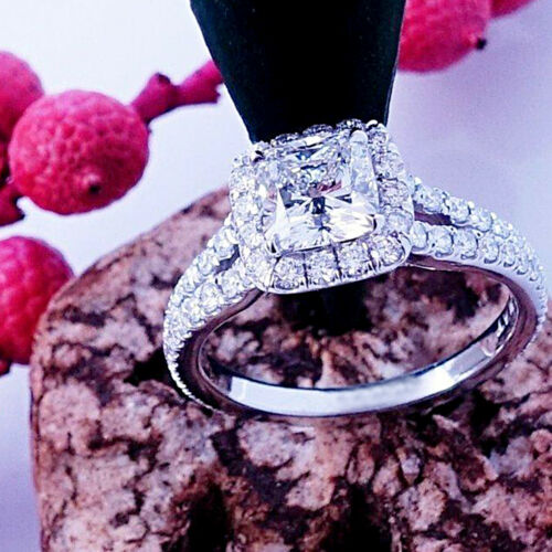 14k White Gold 2.50 Ct Princess Cut Diamond Split Shank Halo Engagement Ring