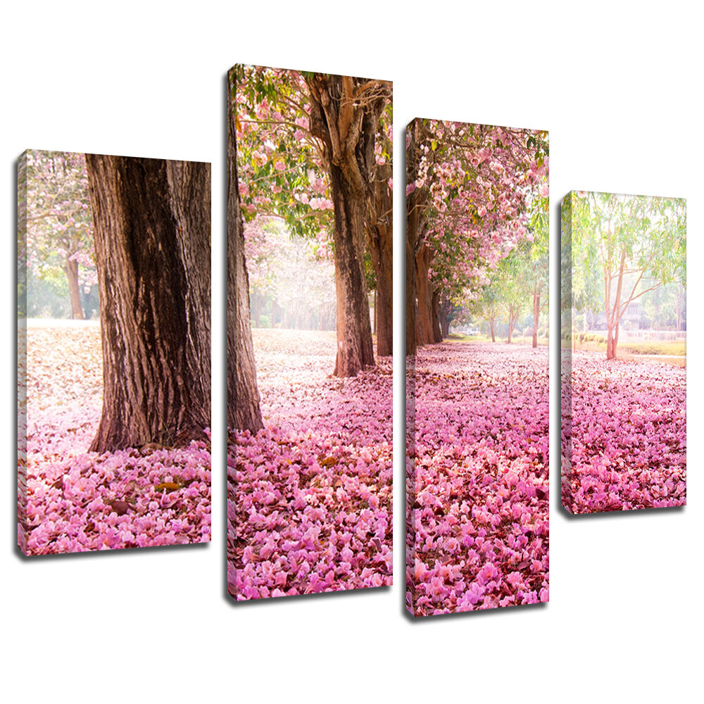 MSC394 Cherry Blossom Trees Bloom Canvas Art Multi Panel Split Picture Print