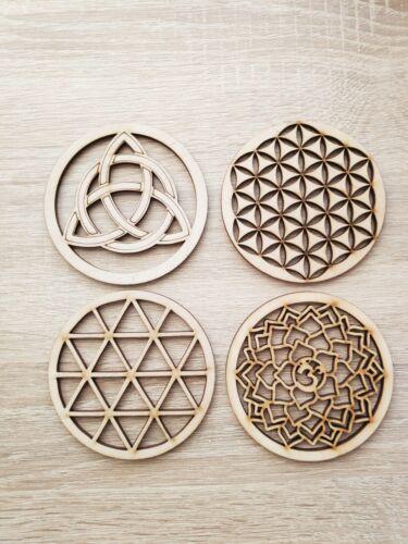 4pcs Mix F sacré en bois sous-verre grille Fleur de vie Graine de vie Fleur de vie