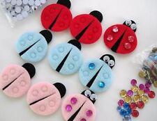 60 Felt LadyBug+Jewel,Eye Craft Applique/trim/sewing/Cute/bow/Pink/Red/Blue H25