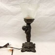 Vtg Ornate Case Brass Cherub Cupid Table Electric Lamp Art Nouveau Style Spelter