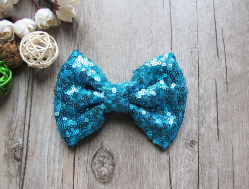"""4/"""" New Girls Sequin Glitter Sparkle Hair Bow Clip Pin Accessories"""
