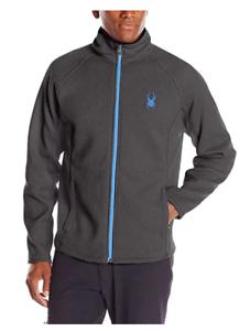 Spyder Men's Constant Full Zip Mid Weight Stryke Fleece - GREY/BLUE - MEDIUM