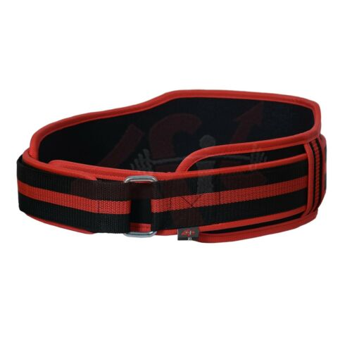 """4Fit™ Neoprene Weight Lifting Belt Back Support Gym Belts 5/"""" Wide Red"""