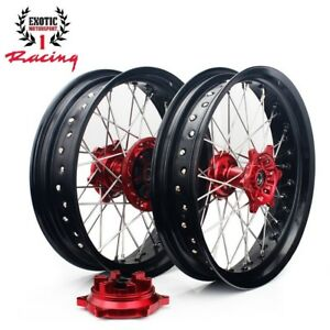 Suzuki-DRZ400-DRZ-400-SM-17-034-Supermoto-Wheel-Set-2000-2017-Red