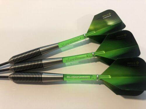 Green Supergrip Stems APACHE 36g TUNGSTEN Darts Set Green Sonic Flights